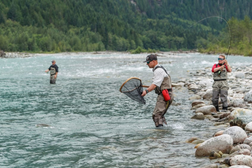Preparing to land a lunker bull trout on a helifishing trip