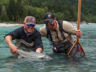 Large sea run bull trout about to be released