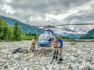 Couple heli-fishing in Squamish BC