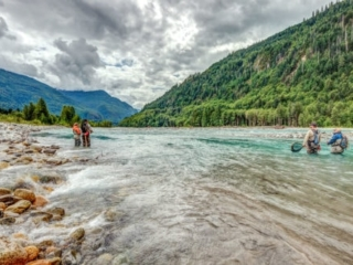 Fly fishing a fast river