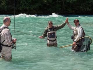 Successful heli fly fishing in B.C.'s rivers