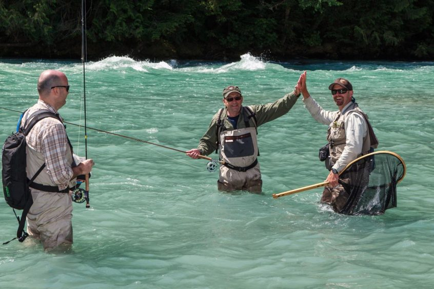 Successful heli fly fishing in B.C.'s rivers