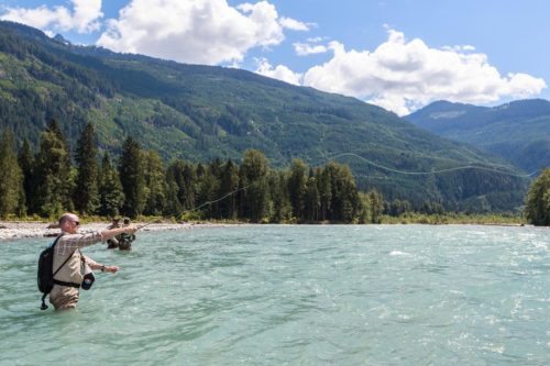 River fly casting in remote river spot in B.C.'s southern rivers