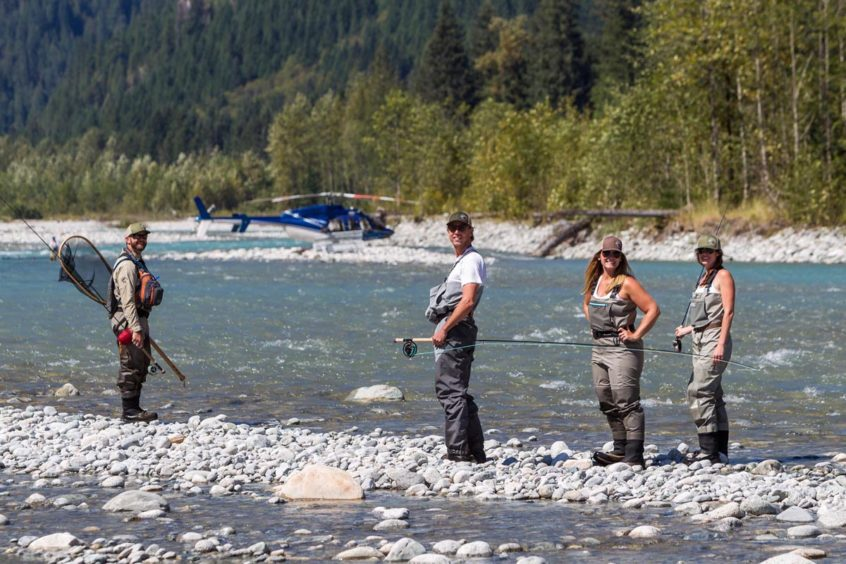 Group of Anglers on a helicopter fly fishing trip