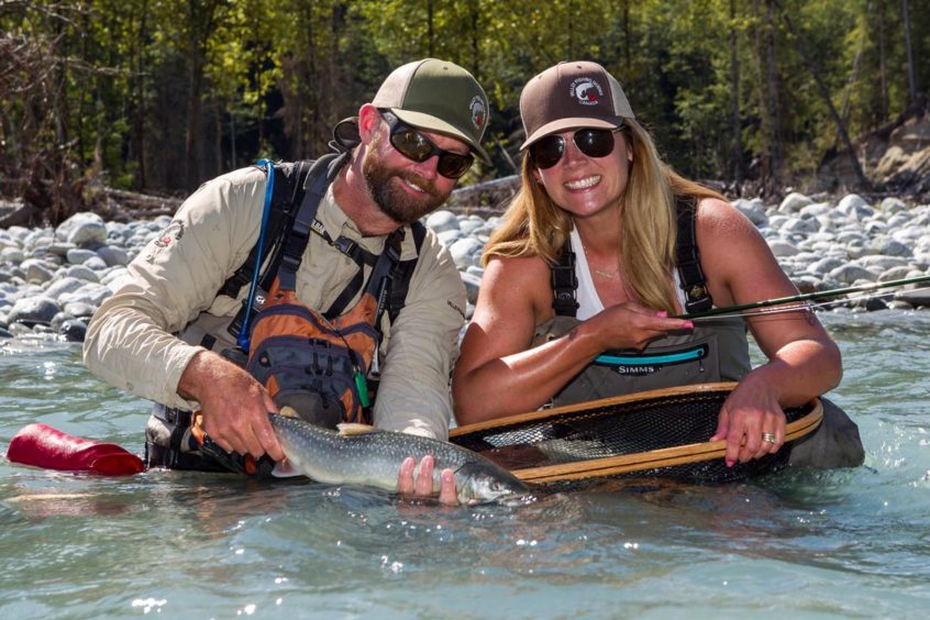 Couple fly fishing for bull trout in Squamish BC