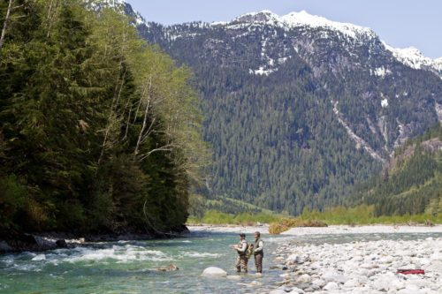 Mountain views while fly fishing on the Pitt River in Southern B.C.