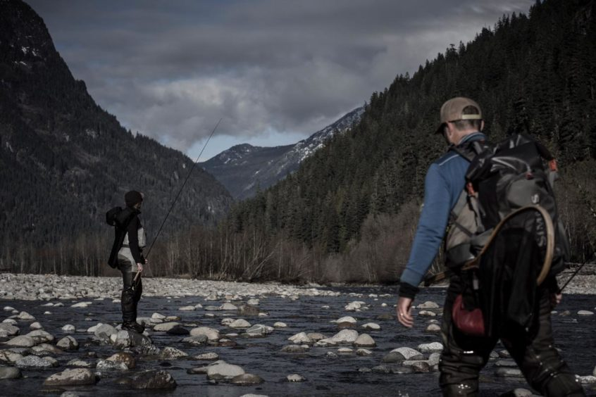 Anglers walking on the Squamish River