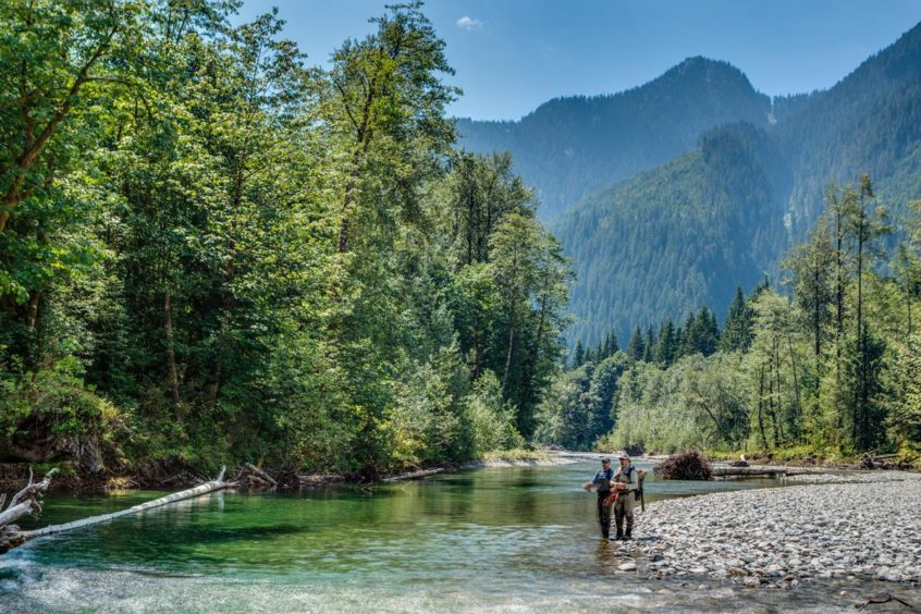 Heli fly fishing to the headwaters of the Pitt River in British Columbia