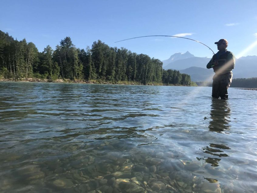 Angler fighting a Squamish river pink salmon