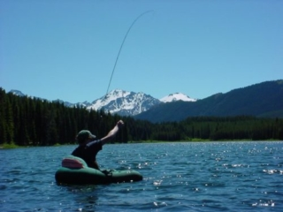 Fly fishing in Spruce Lake, B.C.