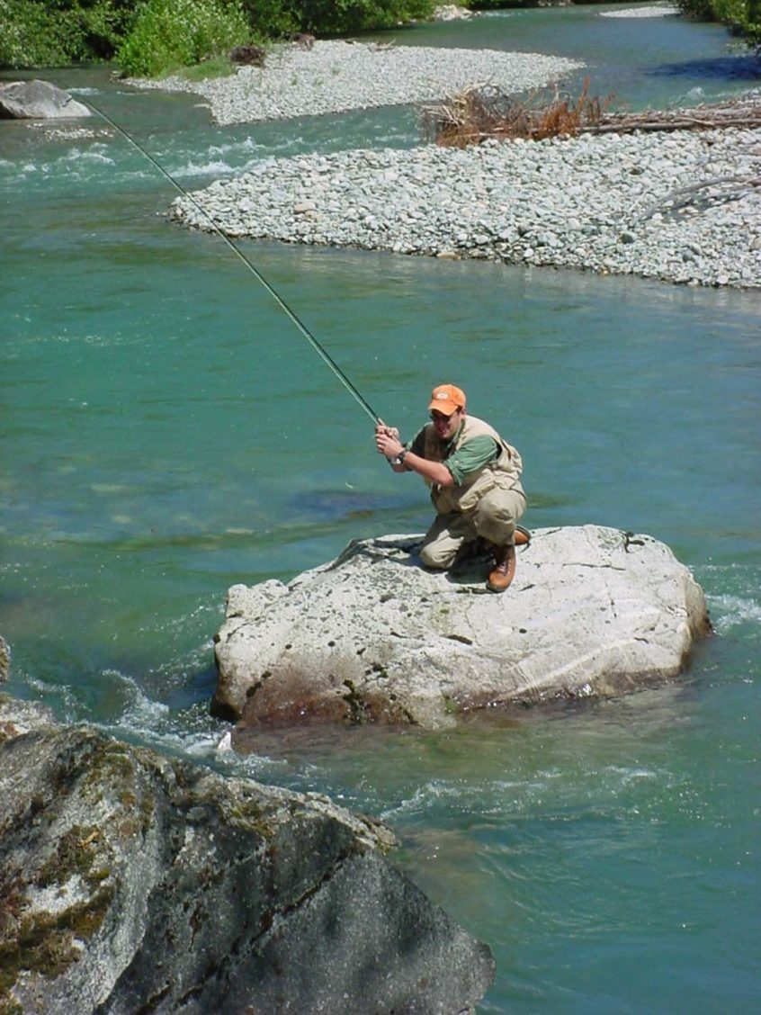 Casting a fly rod from a rock
