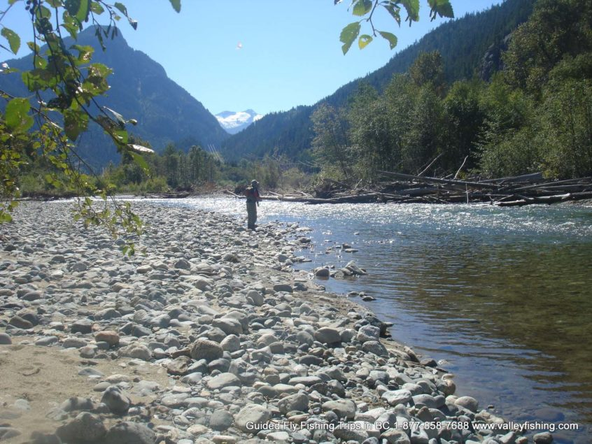 Fly fishing a seam on the Birkenhead River near Whistler