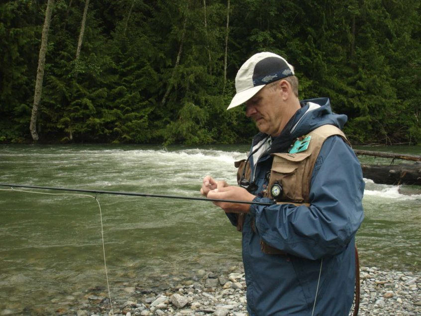 Tying a fly on the line