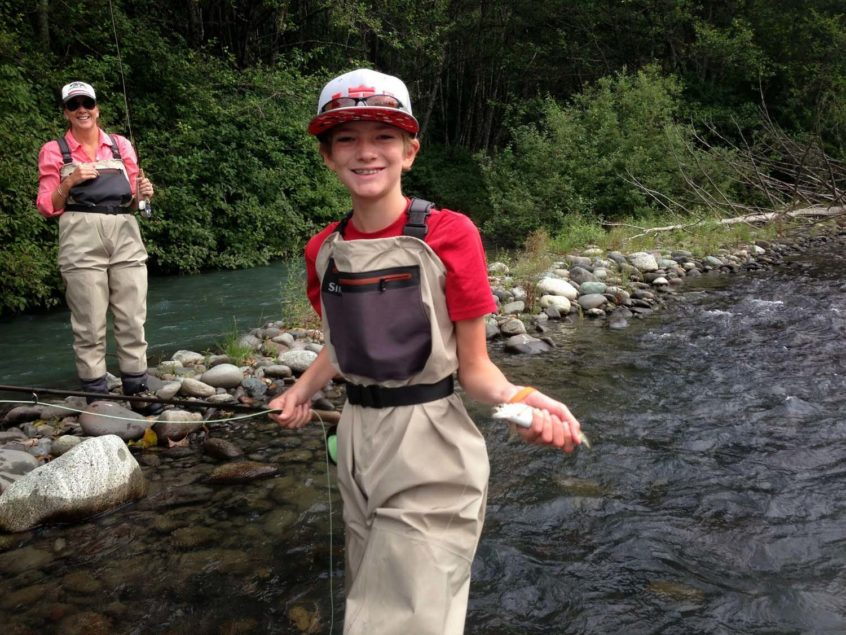 Kid Fly Fishing in Whistler