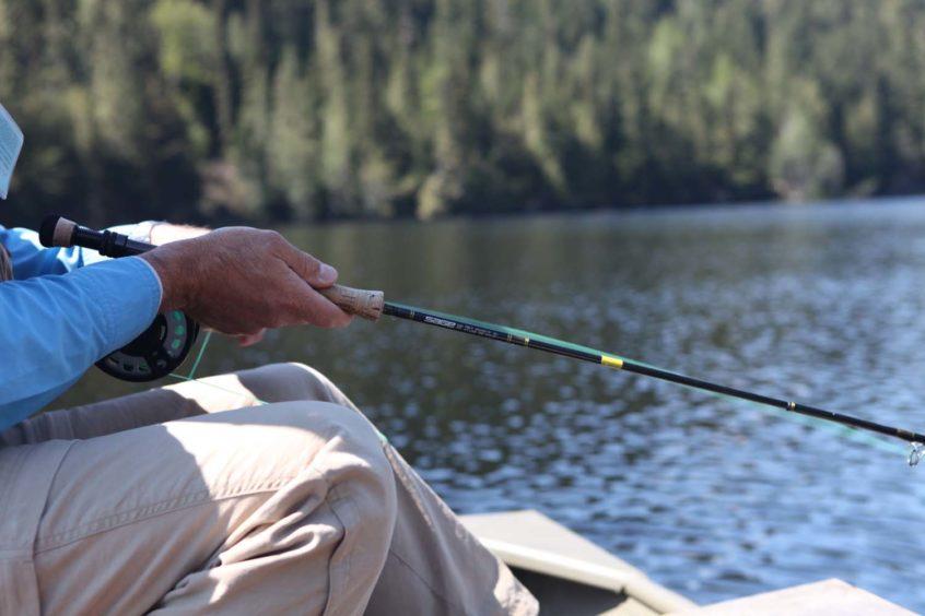 Fly fishing on Blackwater Lake near Whistler
