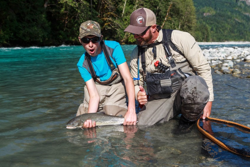 Bull trout caught while heli-fishing in Squamish